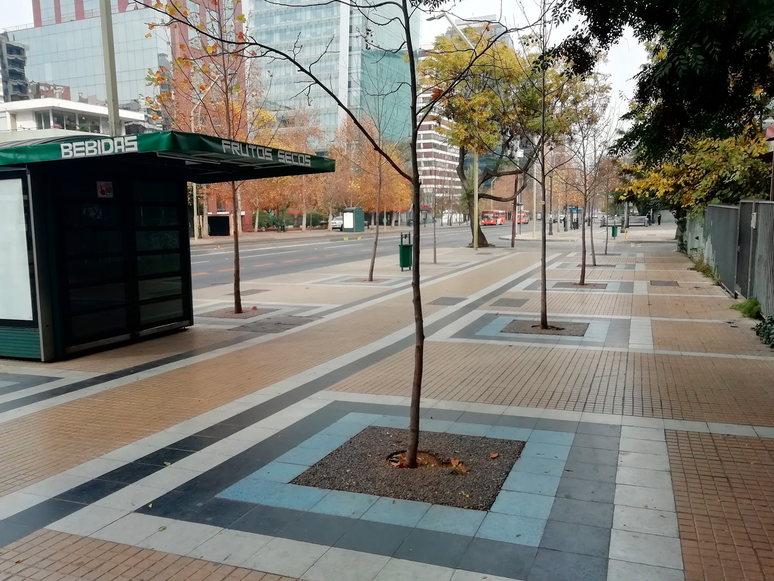 An empty sidewalk in the business district of Santiago during the quarantine