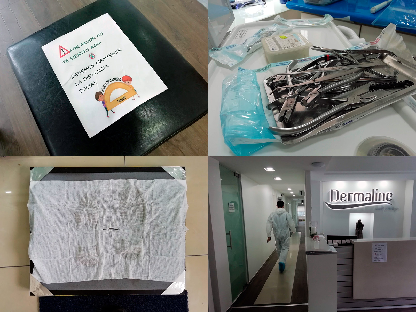 Four photos from a clinic during the quarantine: a puff with a sign no sitting, dental tools, shoe cleaning, a dentist walks away through a hall