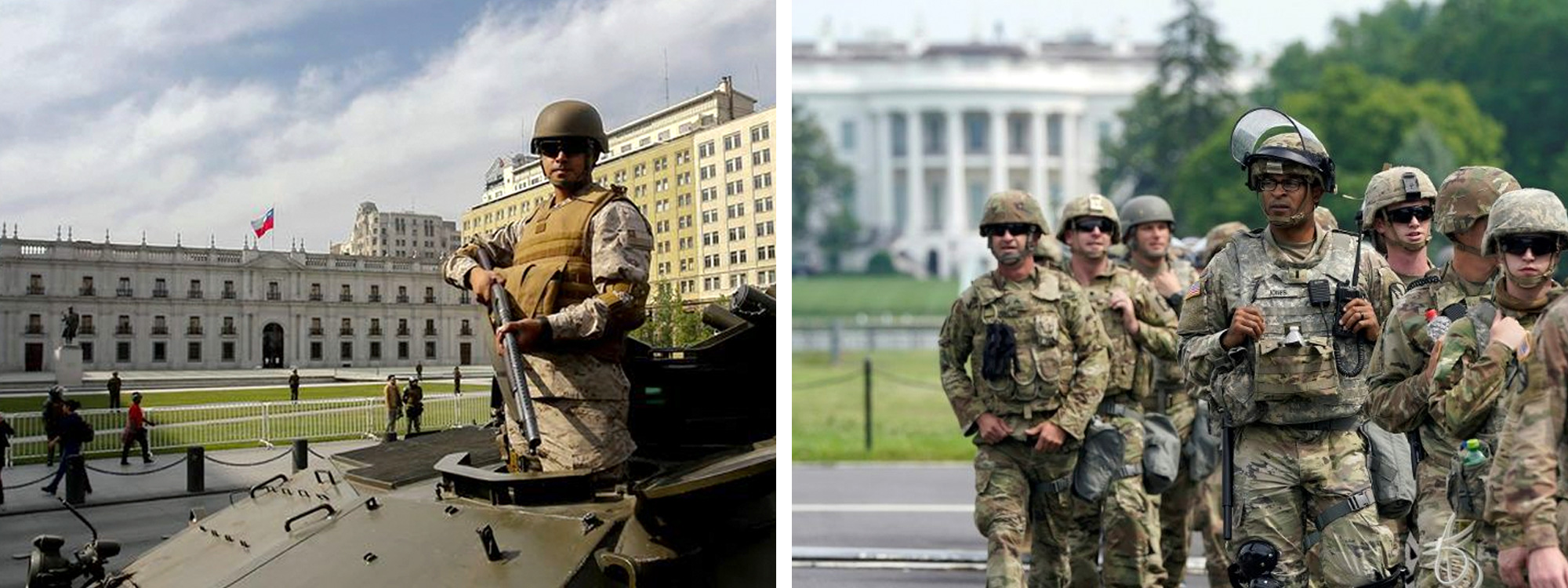 Two photos: an armed military man on a tank in Chile, a group of military men in the United States