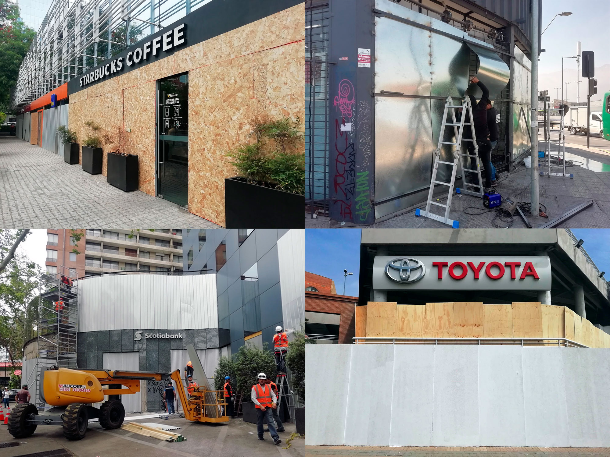 Four photos: a coffee shop covered with plywood, metal protection of a shop, a group of workers covers with metal a two-story bank, double protection of a car dealer center