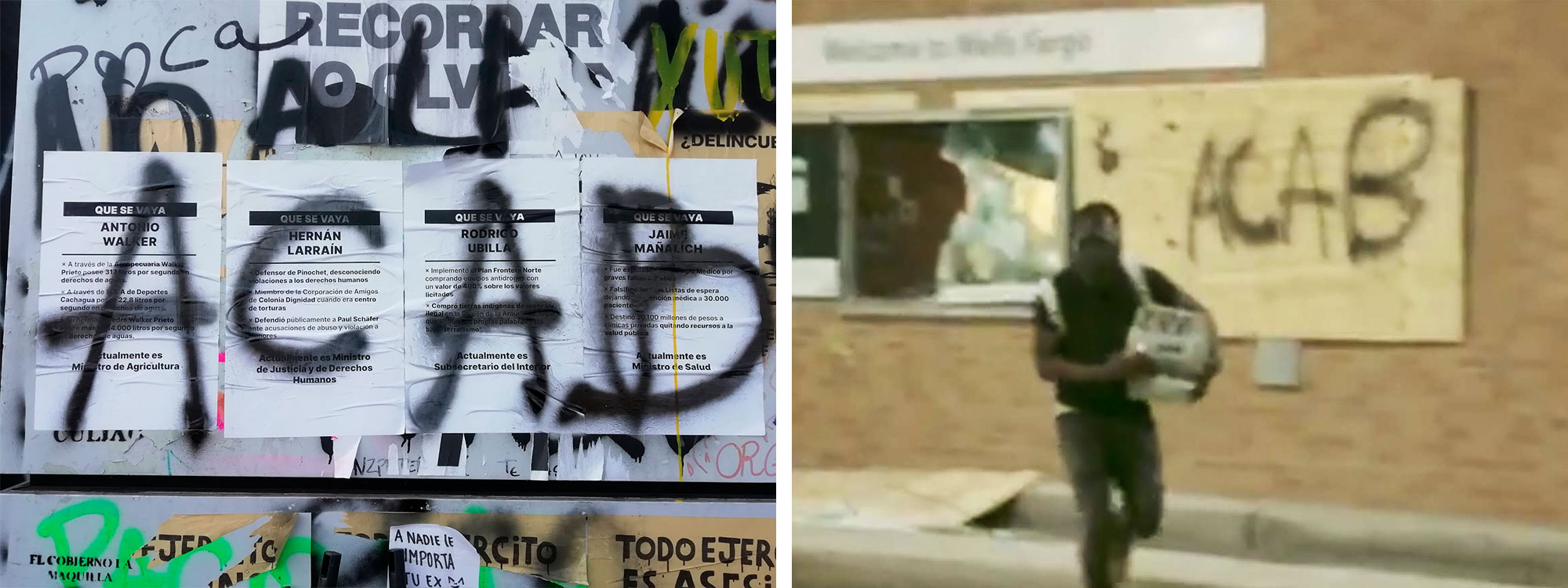 Two photos: ACAB graffitis in Chile and the United States