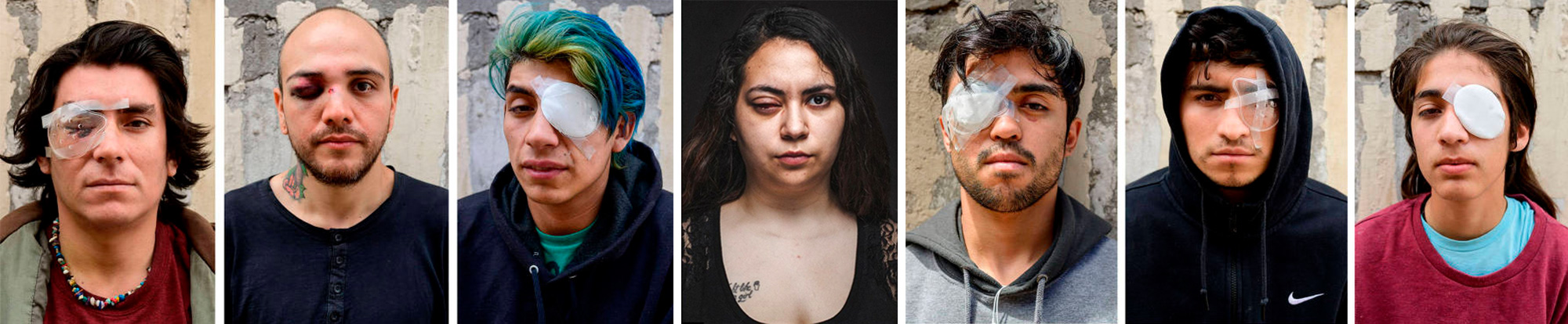 Seven portraits: one girl and six guys with their eye mutilated