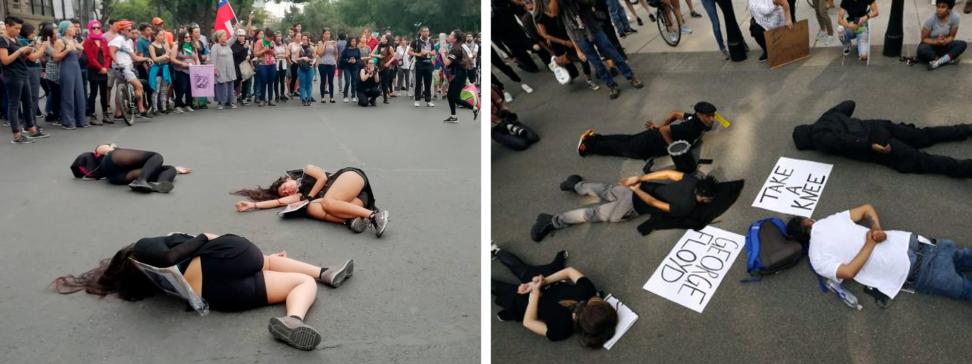 Two photos: girls on the ground in Chile, guys on the ground in the United States