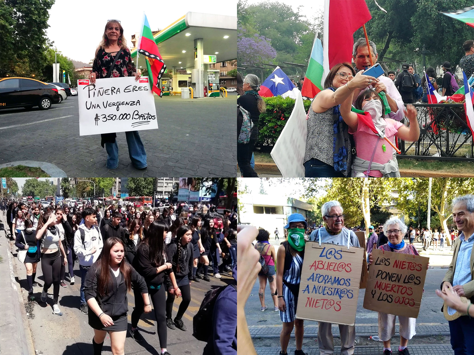 Four photos: a woman with a banner, a family taking a selfie, students marching, an old couple with banners